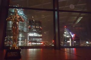 Trophy and skyline